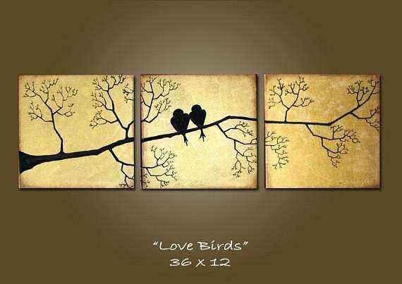 large love birds abstract painting wall art wall decor