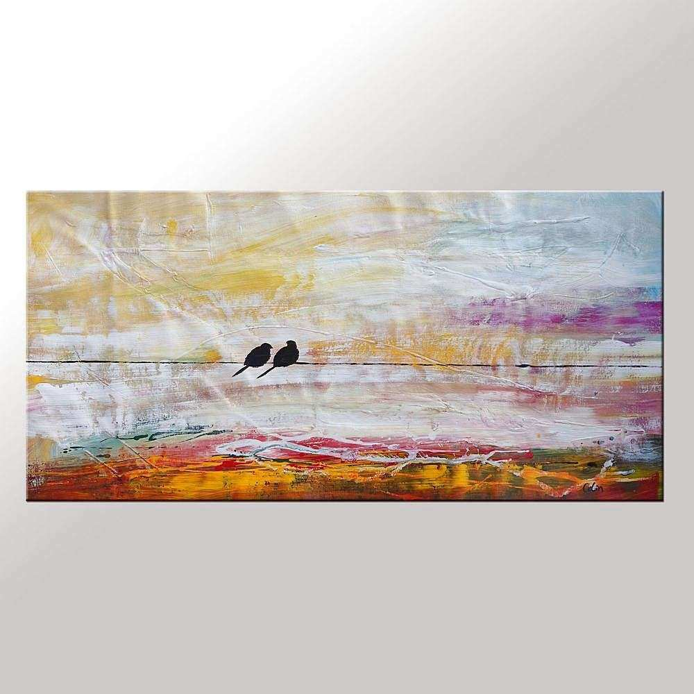 Love Birds Painting LARGE Painting Wall Art Canvas by