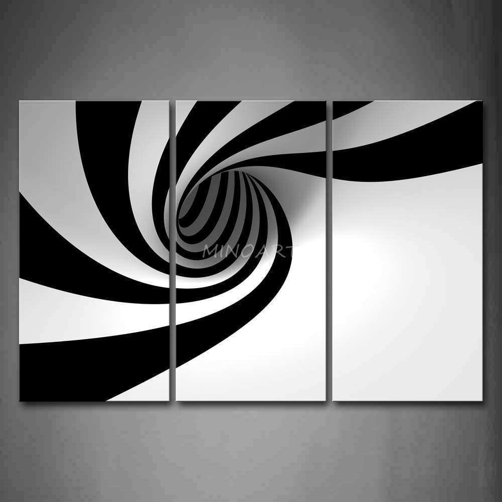 3 Piece Black And White Wall Art Painting Grey Black White