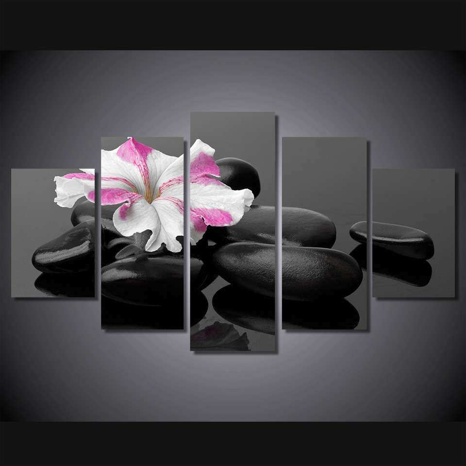 5 Pcs Set Framed HD Printed Black Stone Flower Picture