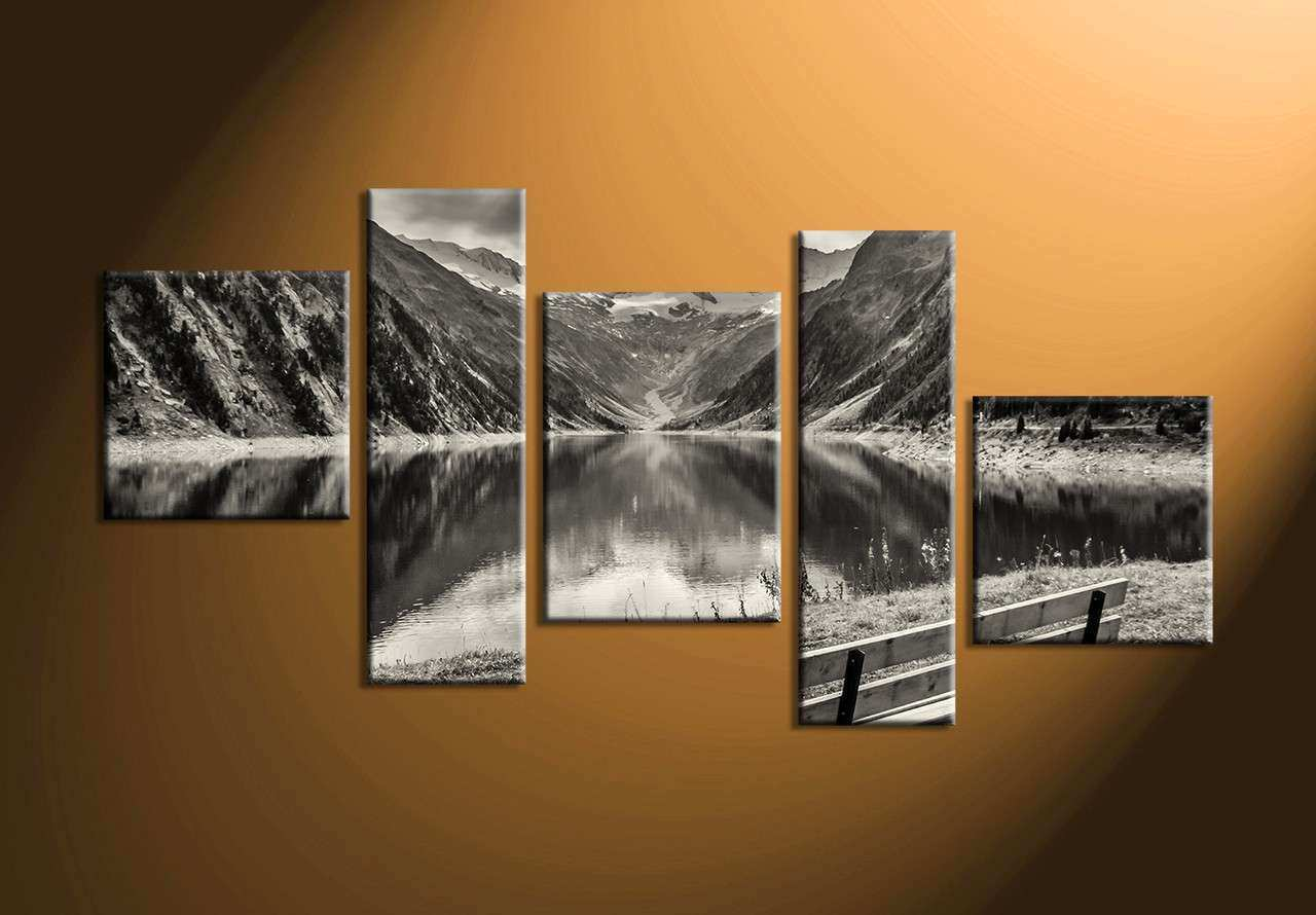 5 Piece Black and White Mountain Wall Art