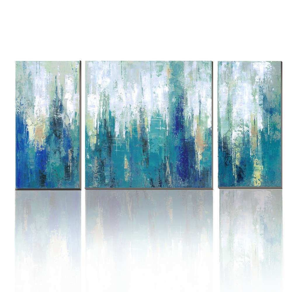 Blue Canvas Wall Art Elegant Canvas Print Unstretch No Frame 3 Panels Blue Abstract