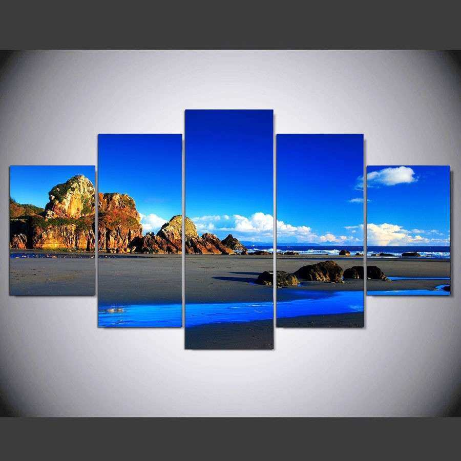 Framed 5 Piece Blue landscape yellow rock Picture Poster