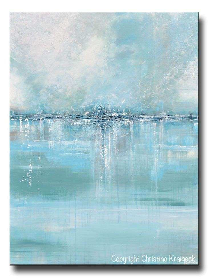 GICLEE PRINT Art Abstract Painting Blue Sea Foam Green