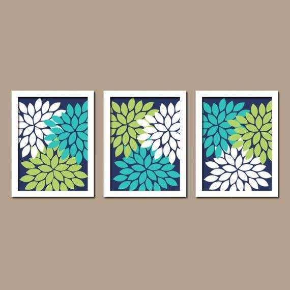Wall Art Canvas Artwork Turquoise Navy Blue Lime Green