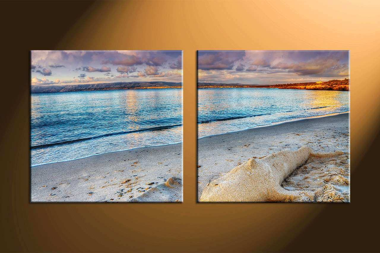 Blue Canvas Wall Art Unique 2 Piece Blue Canvas Sand Ocean Wall Art