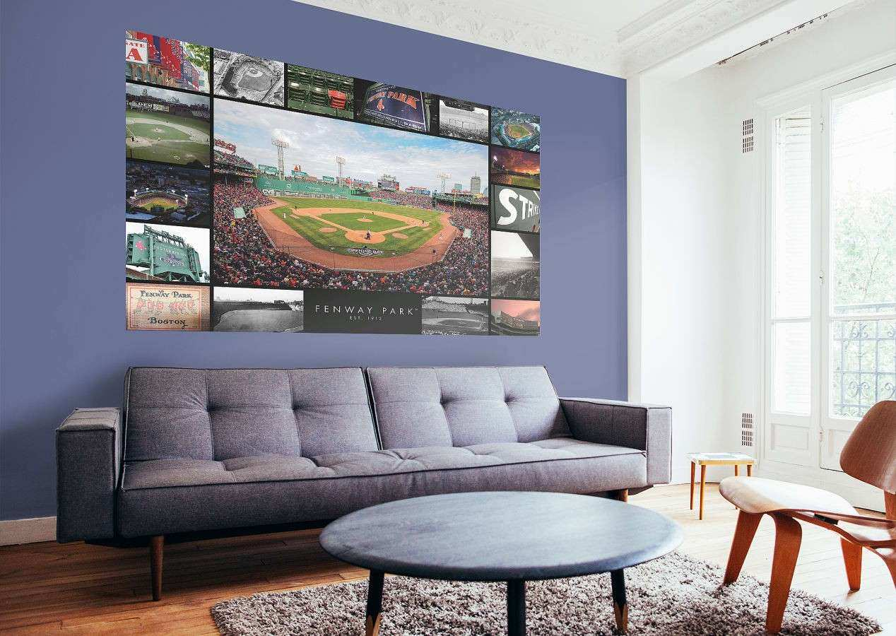 Boston Wall Art Unique Boston Red Sox Fenway Park Then And Now Mural Wall  Decal