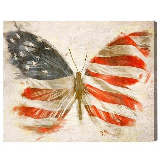 "Oliver Gal Unframed Wall ""American Butterfly"" Canvas Art"