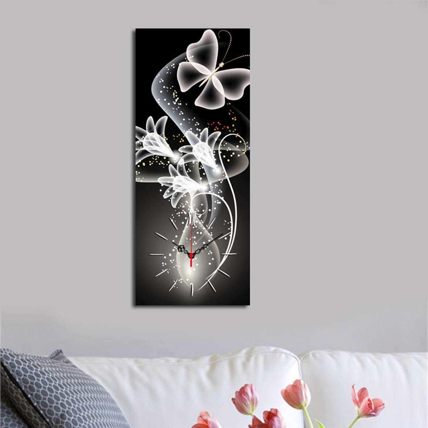 Tick Tock Wall Art Black & White Butterfly Canvas Wall