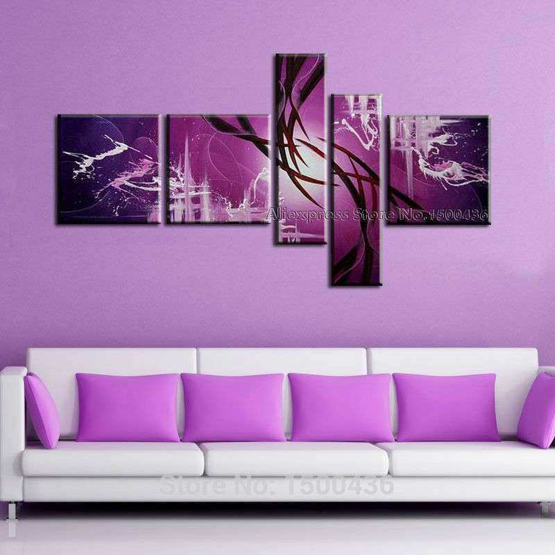 Hand Painted Modern Abstract Oil Painting Canvas Purple