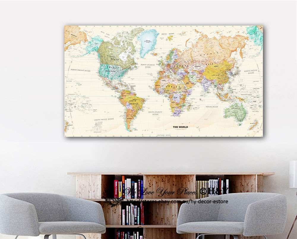 Canvas Wall Art Decor Luxury World Map Stretched Canvas Prints ...