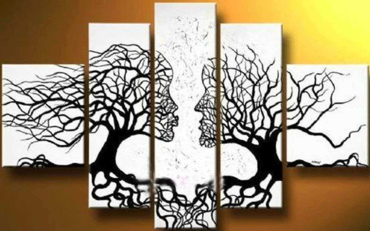 Canvas Tree Art Wall With Long Canvas Ideas Furniture