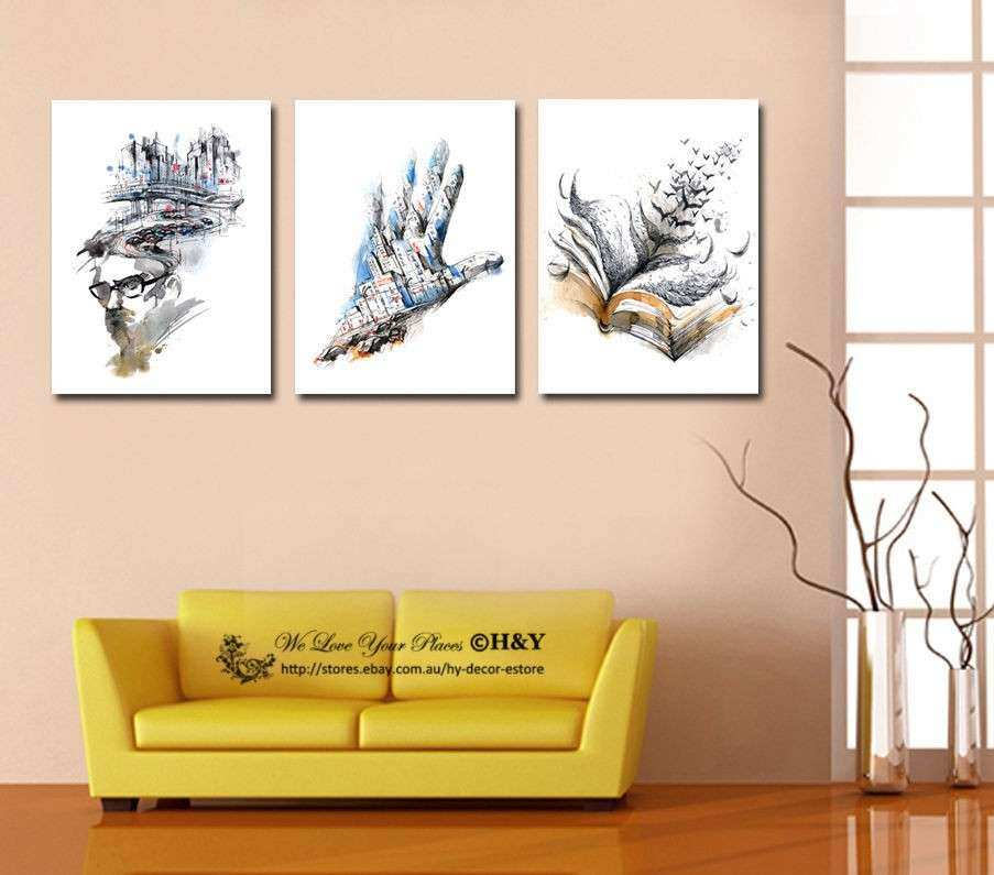 Set of 3 Abstract Stretched Canvas Prints Framed Wall Art