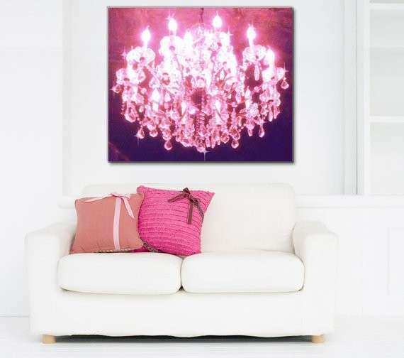Items similar to Chandelier Canvas Art Pink Chandelier