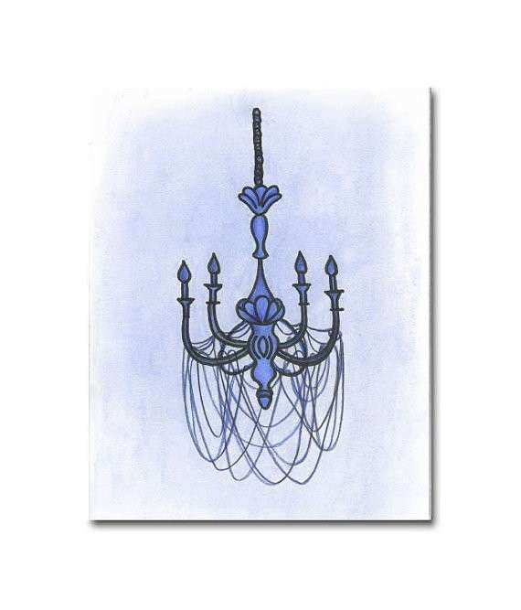 Shabby Boy Nursery Chandelier Wall Art Nursery by handpainting