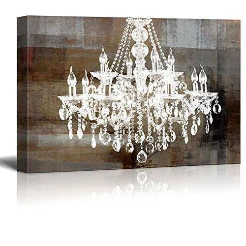 Framed Crystal Chandelier Vintage Canvas Wall Art