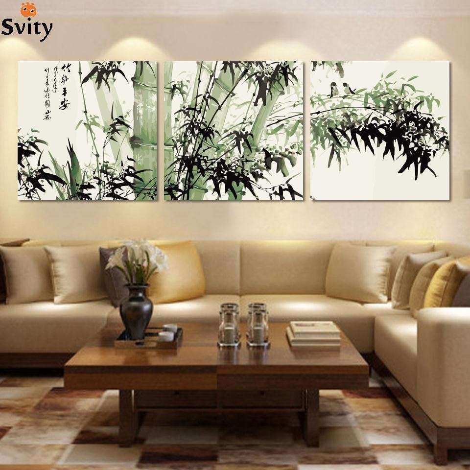 Fashion large canvas art cheap modern abstract bamboo