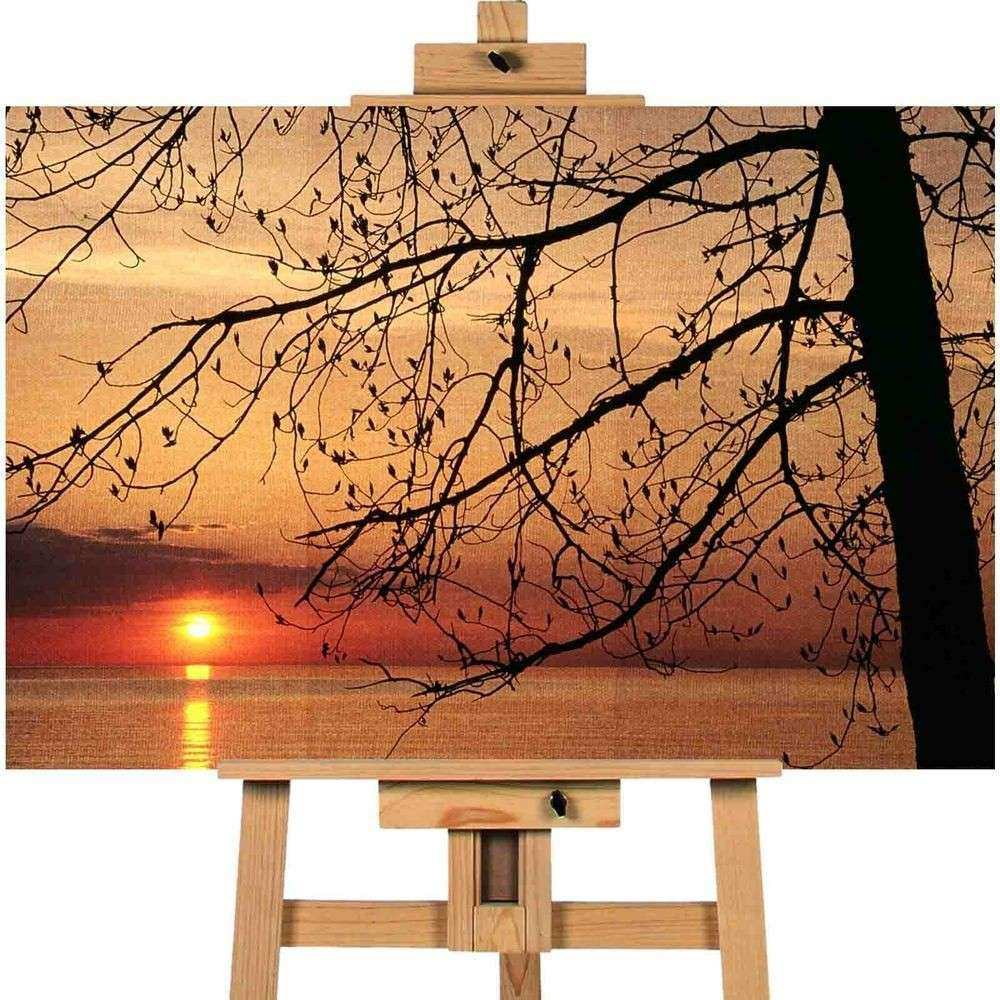 Sunset over Lake Trees Canvas Art Cheap Wall Print