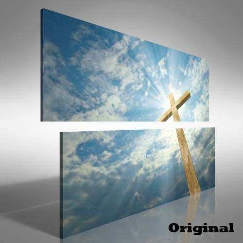 Jesus Christian Cross Double Canvas Print Picture