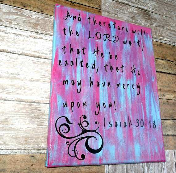 Items similar to Christian Canvas Art Pink and Turquoise
