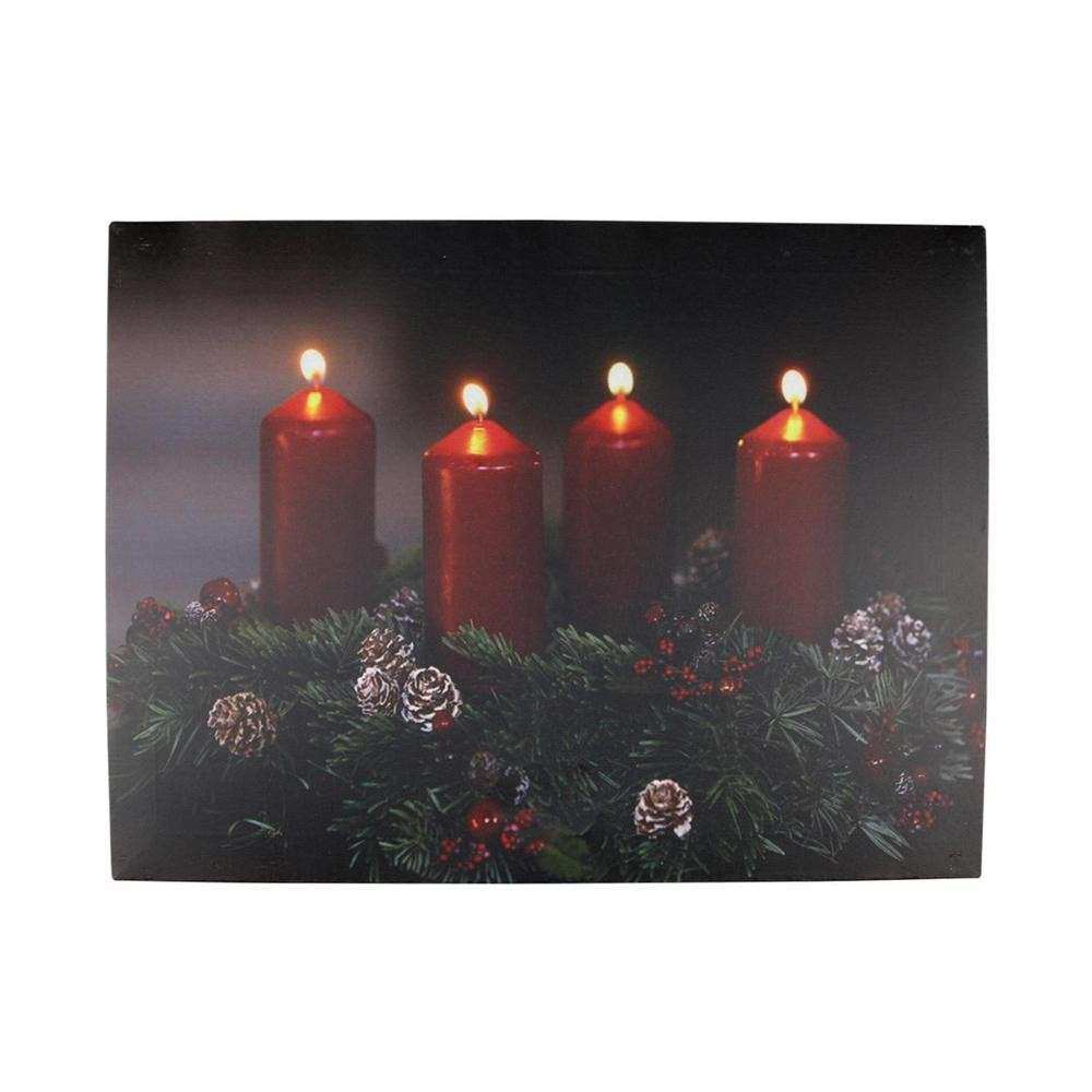 LED Lighted Flickering Candle Wreath Christmas Canvas Wall