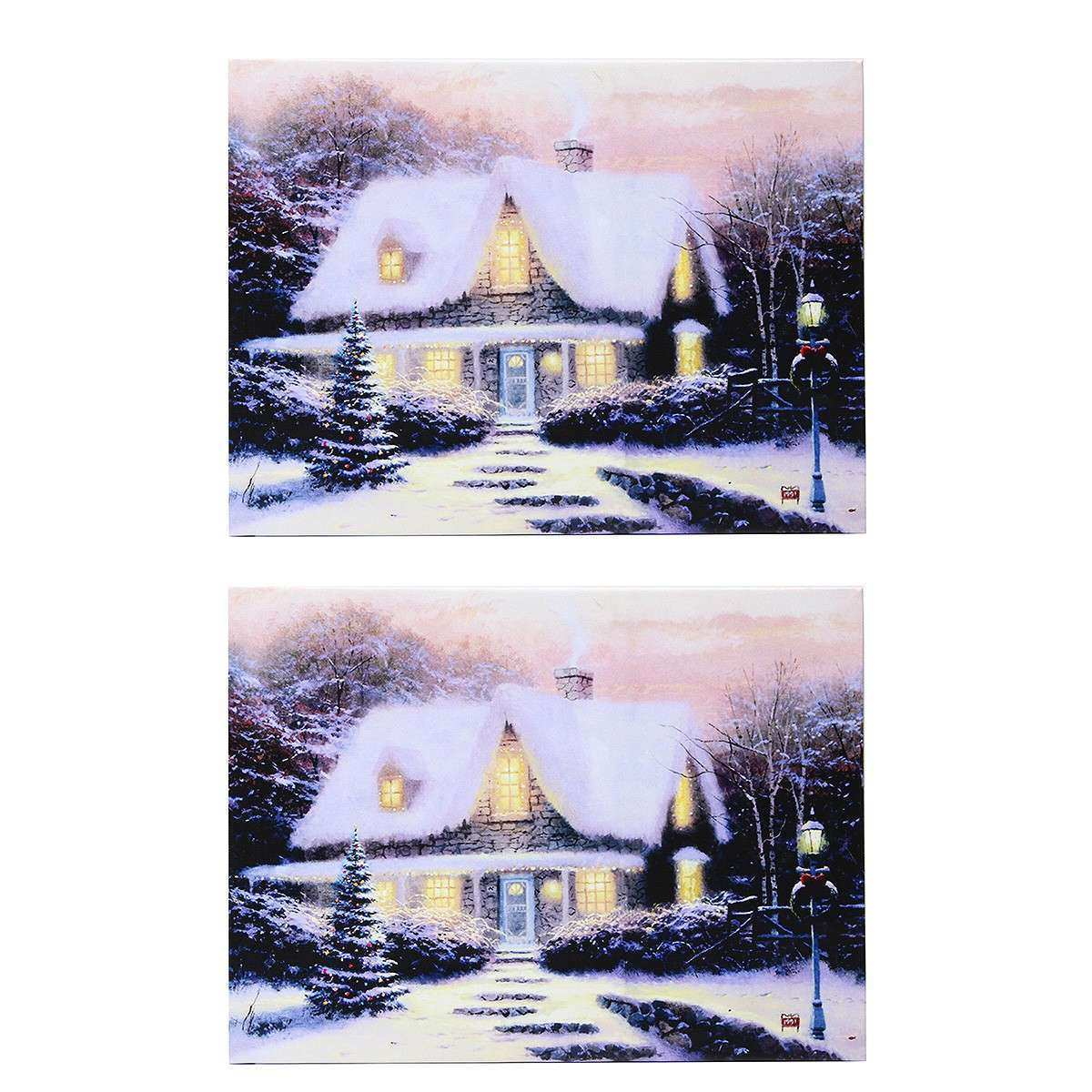 40 x 30cm Operated Christmas LED Snowy Cottage Xmas Canvas