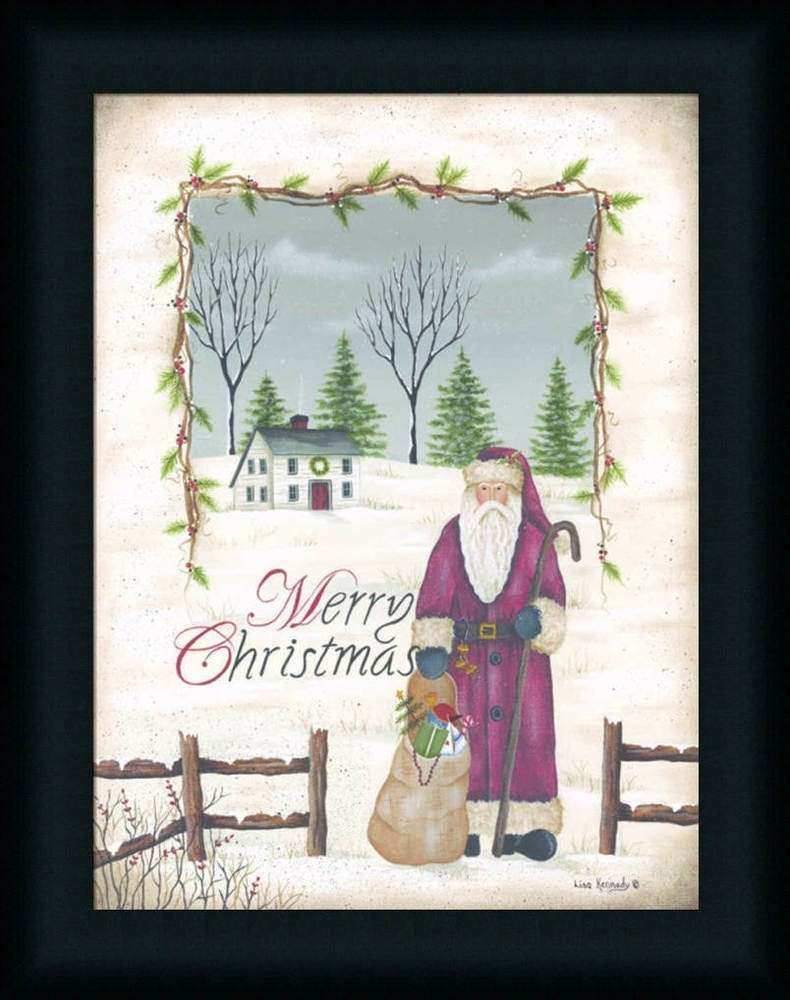 Merry Christmas by Lisa Kennedy Country Santa Claus Framed