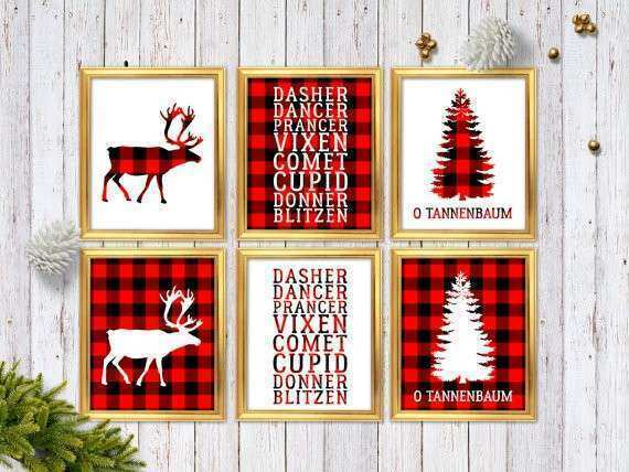 christmas wall art decor beautiful buffalo plaid christmas decor red plaid christmas decoration - Buffalo Plaid Christmas Decor