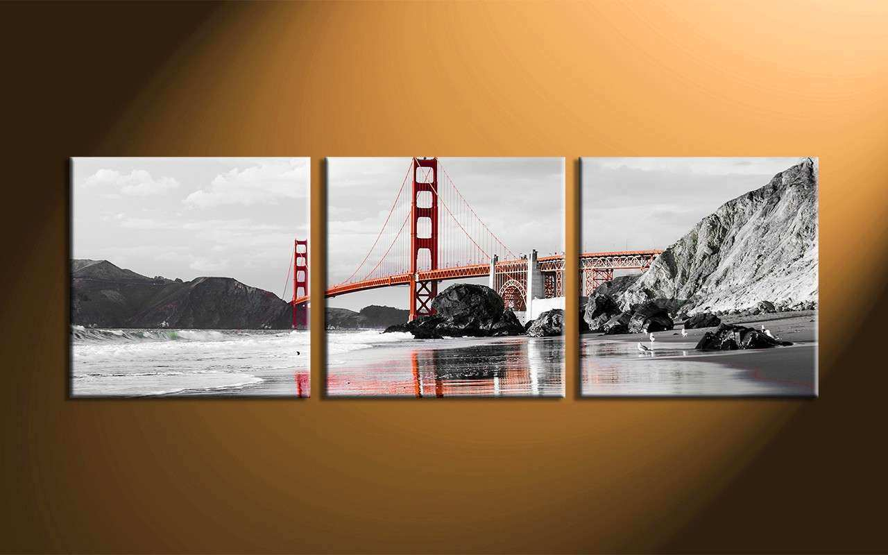 3 Piece Black and White City Group Canvas