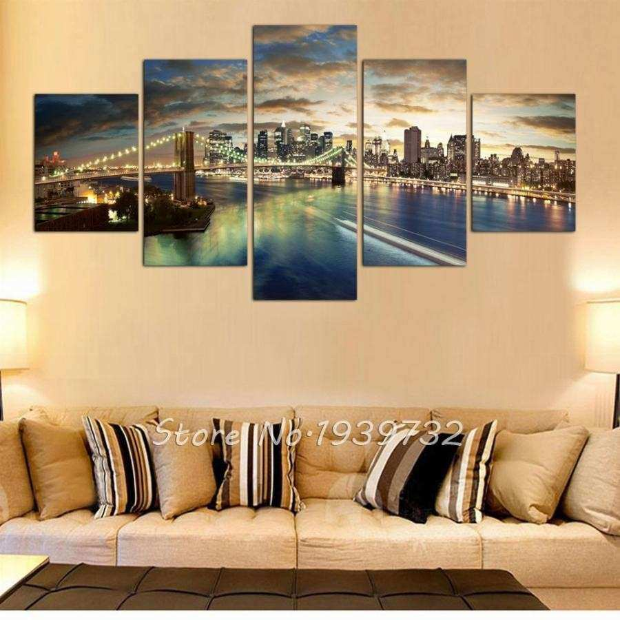 City Canvas Wall Art Elegant 5 Panel New York City Landscape Canvas ...