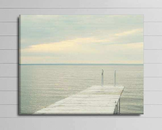 Lake Canvas graph Grey Wall Decor Coastal Art Dock