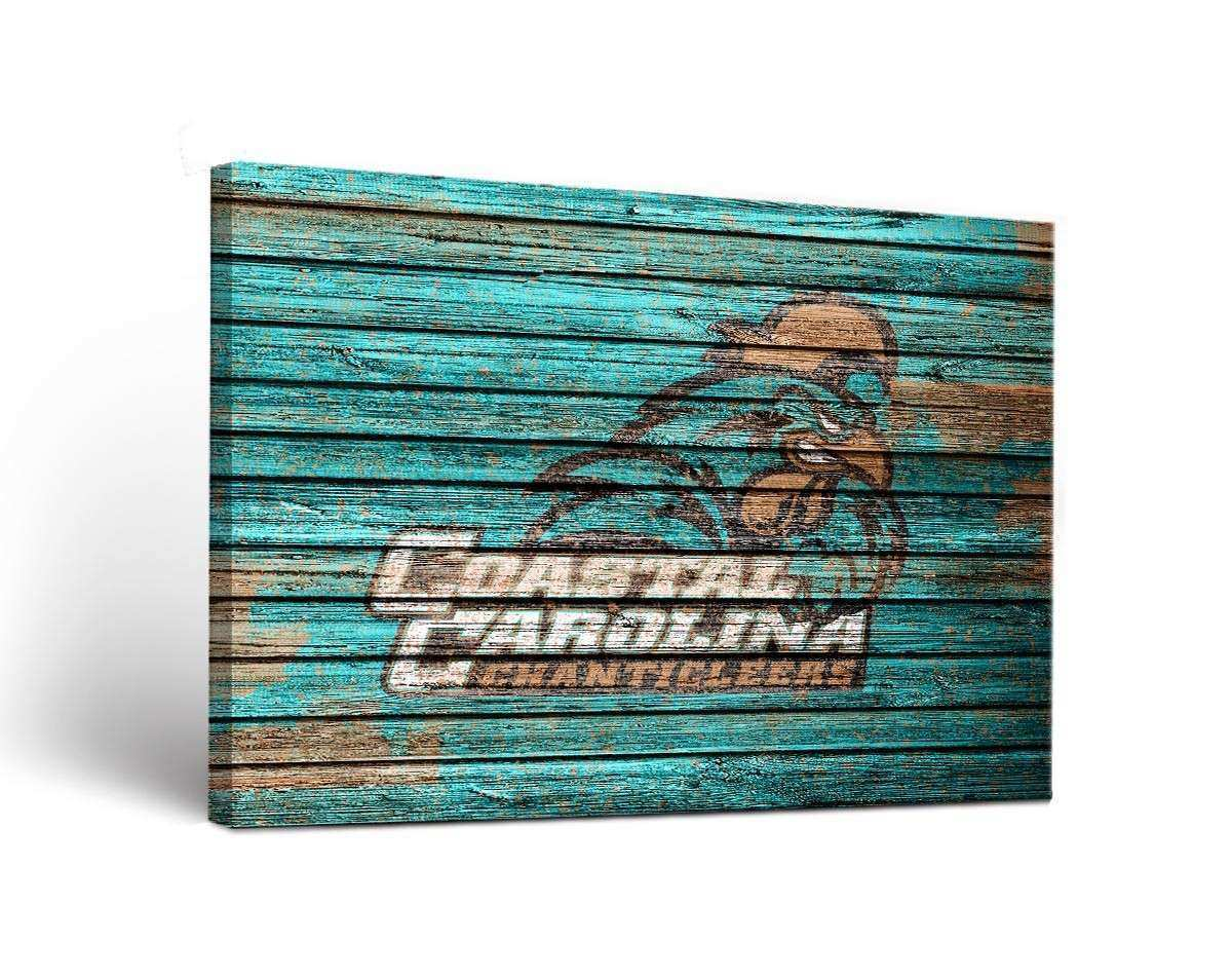Coastal Carolina Chanticleers Weathered Canvas Wall Art