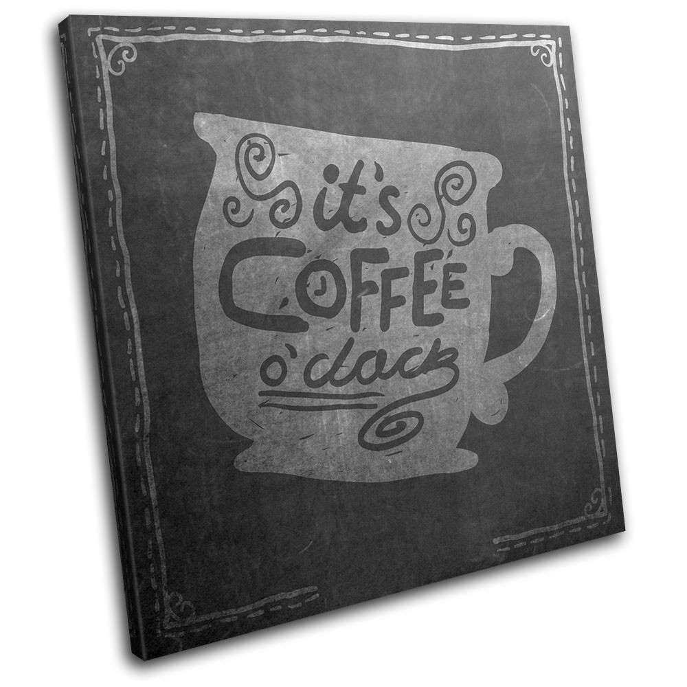 Coffee Tea Chalk Abstract Food Kitchen SINGLE CANVAS WALL