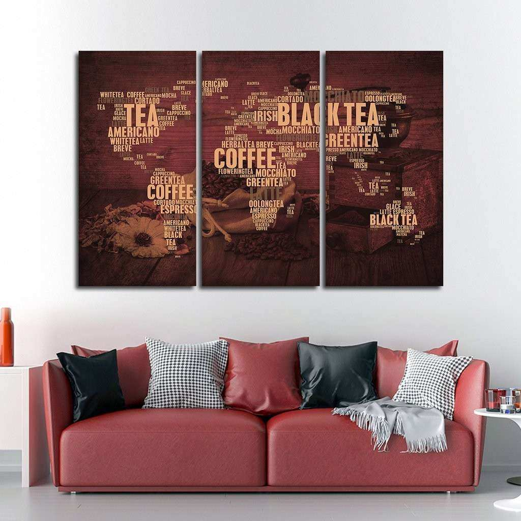 Coffee And Tea World Multi Panel Canvas Wall Art