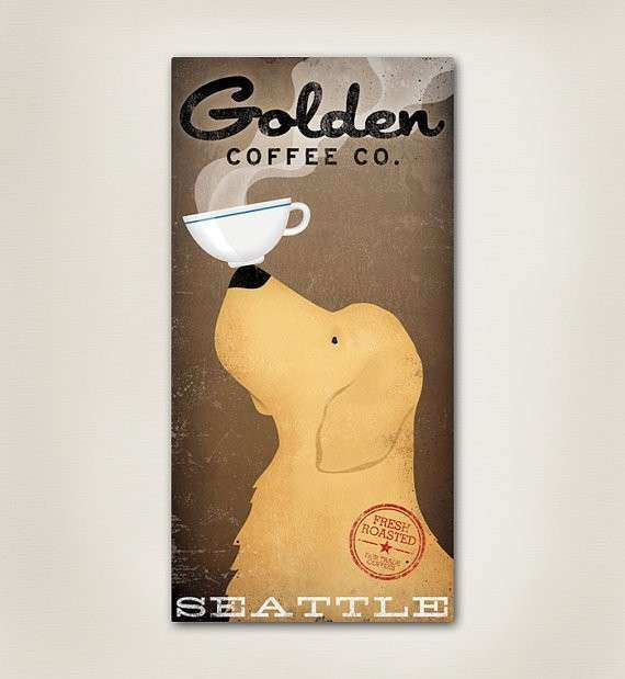 Items similar to GOLDEN RETRIEVER Coffee pany Canvas