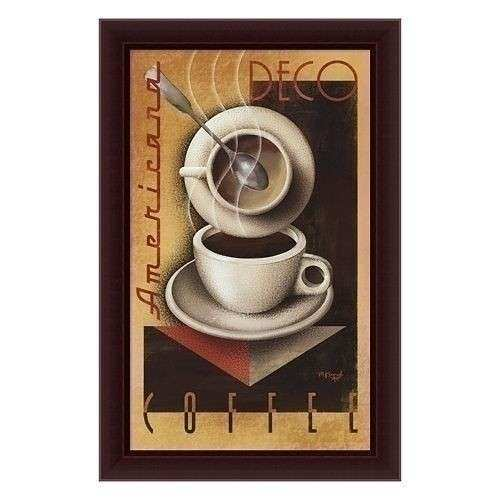 Michael L Kungl Americana Deco Coffee Framed Canvas Art