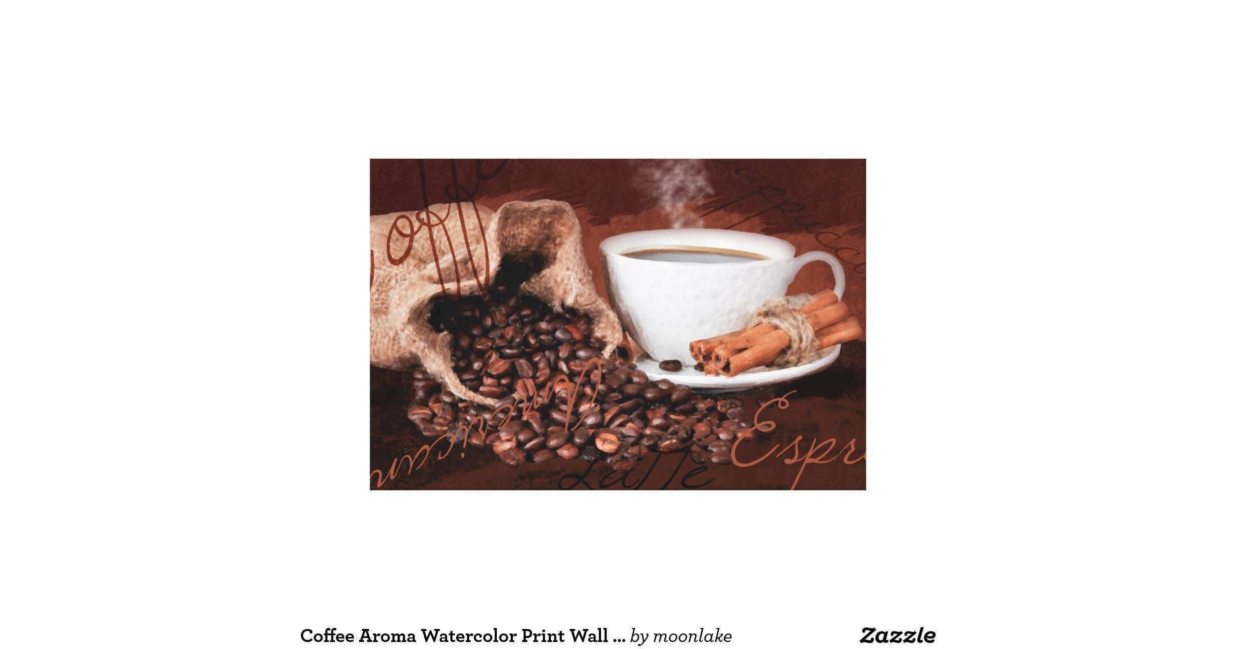 Coffee Aroma Watercolor Print Wall Art Stretched Canvas