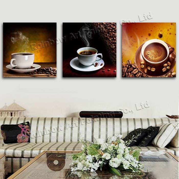 3 Panel Modern Printed Coffee Canvas Art Painting Picture