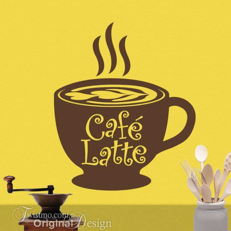 Coffee Cup Wall Decor Awesome Cafe Latte Cup Kitchen Vinyl Wall ...