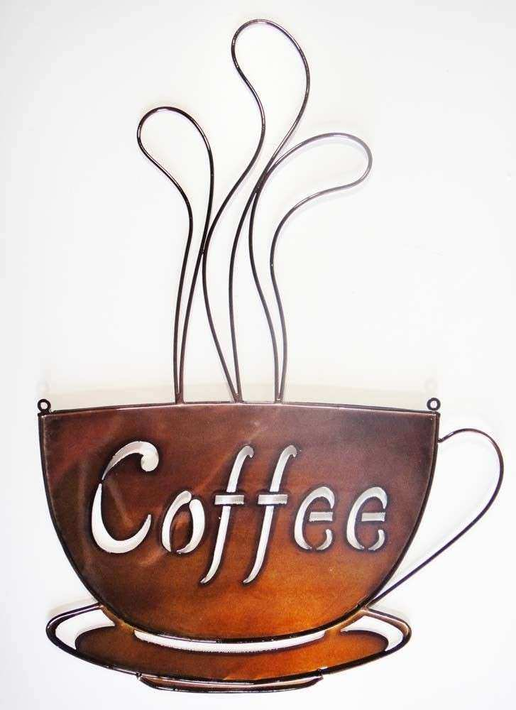 Coffee Cup Wall Decor Fresh Art Metal Bronze Steaming