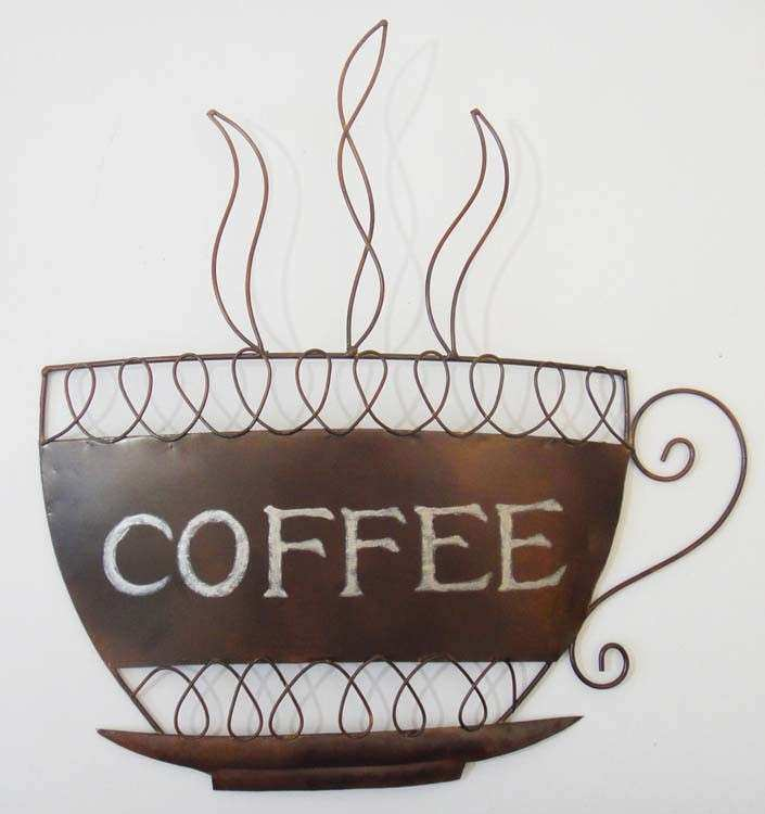 Coffee Cup Wall Decor Inspirational Kitchen Metal Art