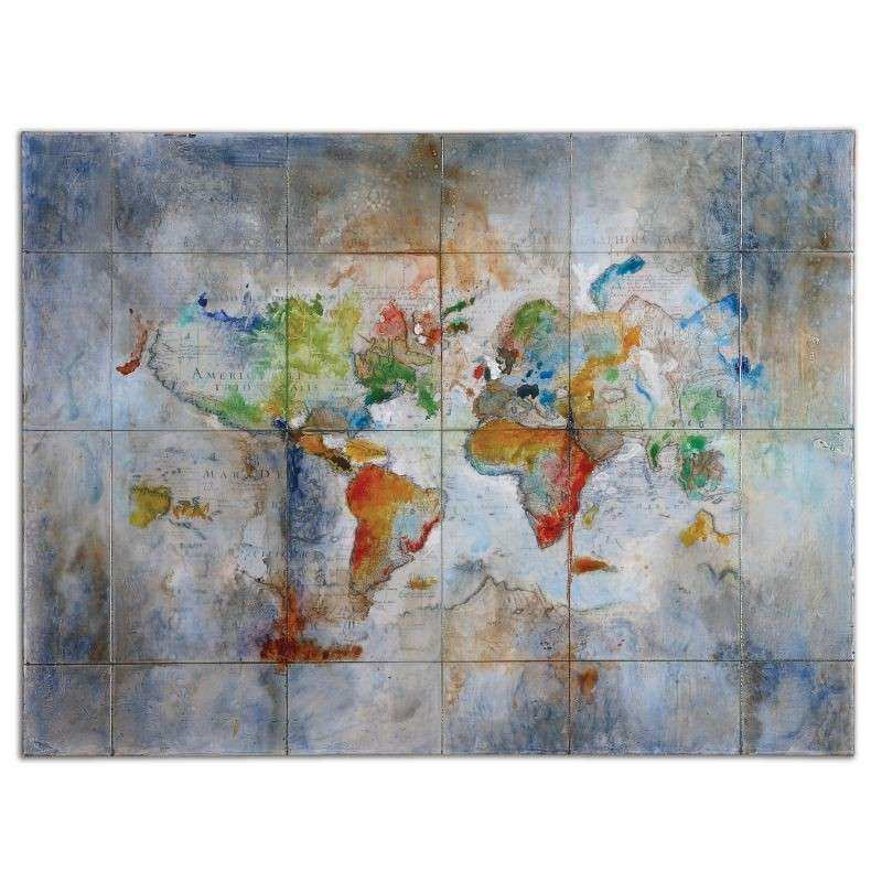 "Diva At Home 48"" Hand Painted Modern Colorful Map Unframed"