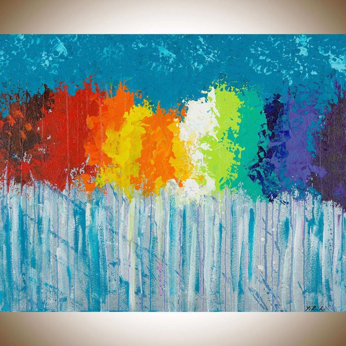 "Rainbow Flowers by QIQIGallery 30""x24"" Original Modern"