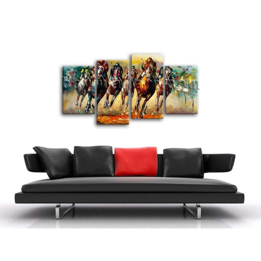 Huge Framed Contemporary Canvas Print Abstract Horse