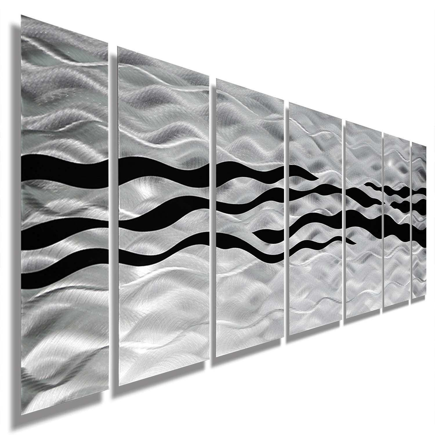 Contemporary Metal Wall Art Sculpture Lovely Modern Abstract Black Silver