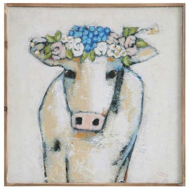 Cow and Flowers Wall Decor
