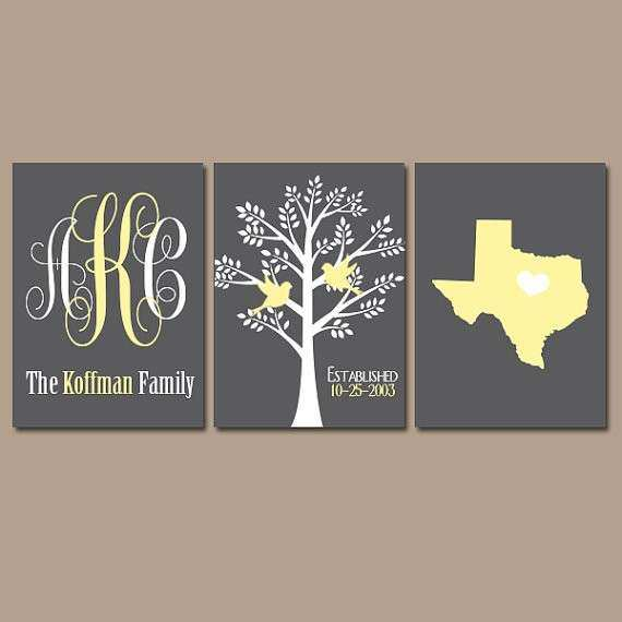 Family Tree Wall Art Personalized Monogram CANVAS or