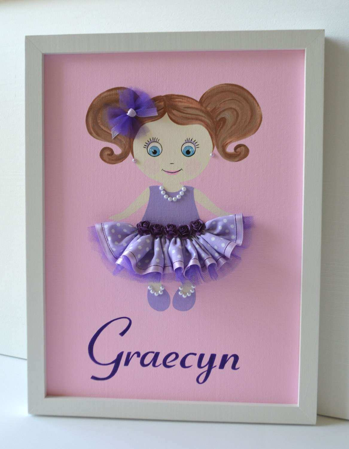 Personalized Doll Canvas Nursery Wall Art by FlorasShop