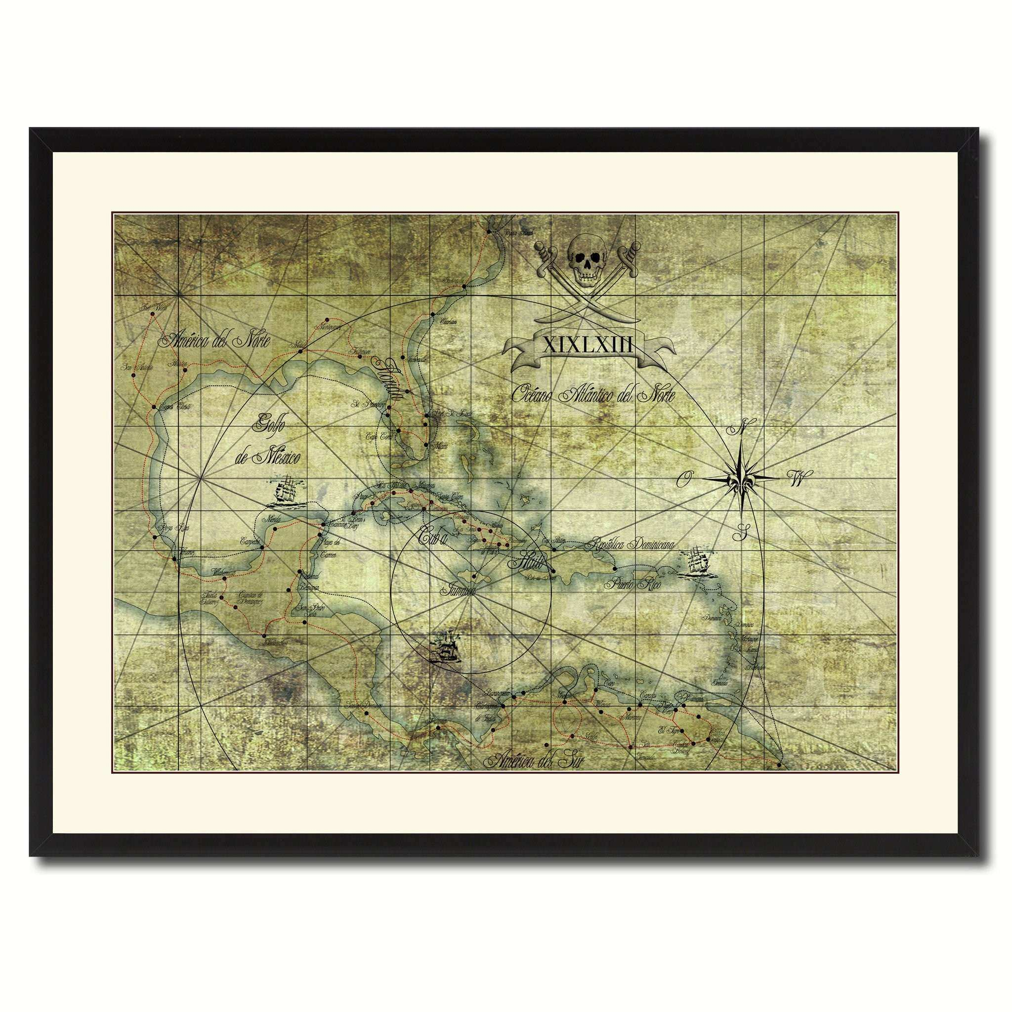 Custom Wall Art Canvas Inspirational Caribbean Vintage Antique Map ...