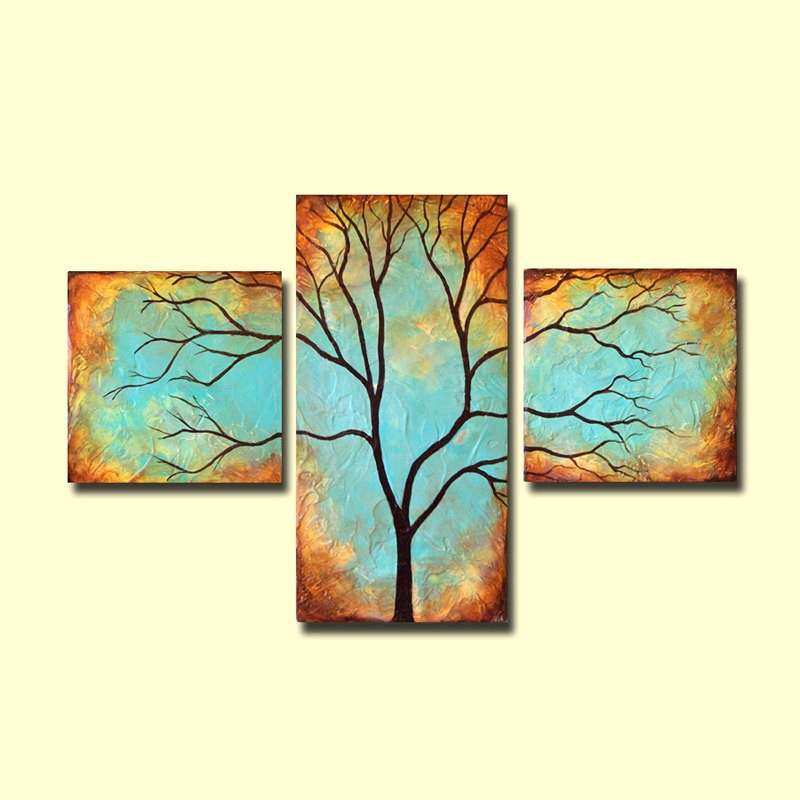Tree Wall Art Patina Triptych Art Custom Painting